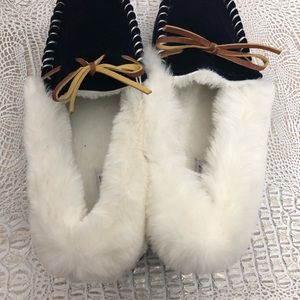 86ff5299b74 Saks Fifth Avenue Shoes - Saks Fifth Avenue Navy Yuma Faux Fur Slippers